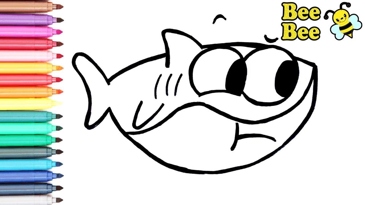 Раскраска для детей АКУЛЕНОК BABY SHARK. Мультик ...
