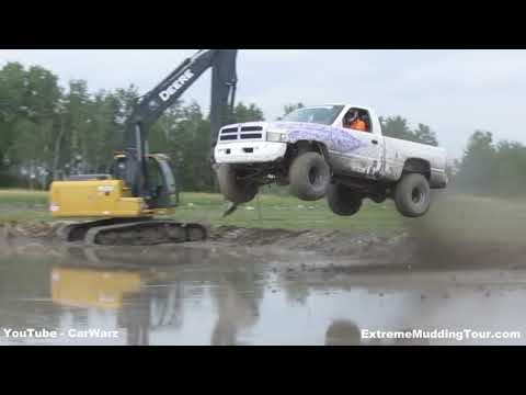 Stock Dodge Truck Dam Jump Competition At Country Compound Mud Bog