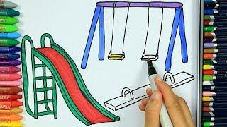الرسم والتلوين للأطفال 🏞 | كيفية رسم حديقة | الرسم للأطفال | الأطفال ألوان الفيديو