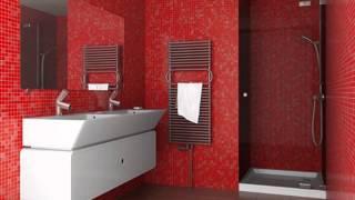Дизайн интерьера ванной комнаты красного цвета