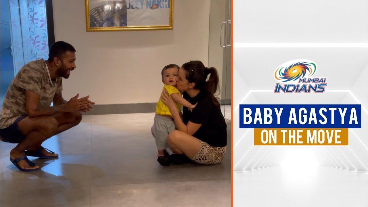 Baby Agastya walks for the first time on camera | अगस्त्य खुद चले | Mumbai Indians