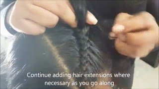 """vuclip Two Cornrows """"Boxer Braids"""" with extensions can also use french braid/dutch braid! 