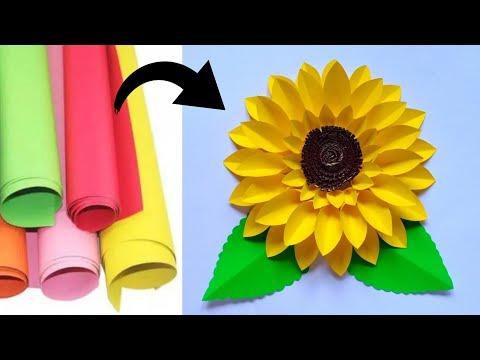 Diy Sun Flower Wall Hanging Membuat Hiasan Dinding Bunga Matahari Dari Kertas Youtube