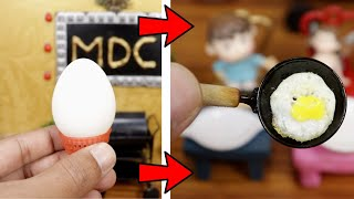 Miniature Trick - Big Egg to Mini Omelette I Miniature real cooking with MDC