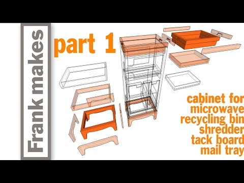 Microwave/Recycling Bin/Shredder/Tack Board/Mail Tray Cabinet - Part 1 of 3