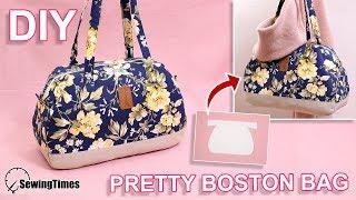 DIY PRETTY BOSTON BAG | large capacity handbag tutorial & pattern [sewingtimes]