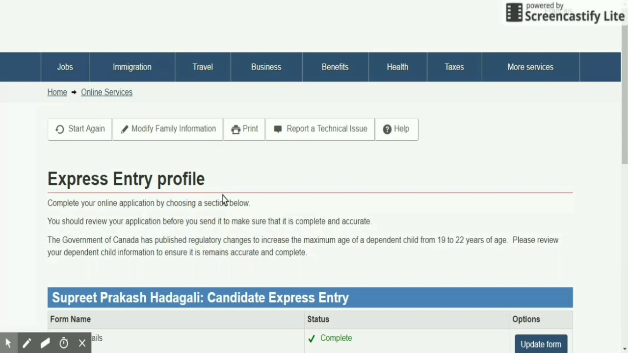 How to Create Express Entry profile quick demo