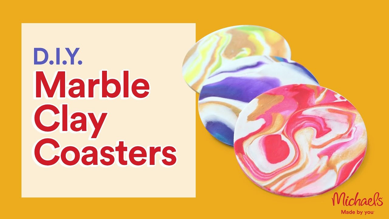 Easy Marble Clay Coasters Michaels Youtube
