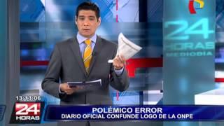Polémica: diario oficial El Peruano confunde logo de la Onpe (1/2)