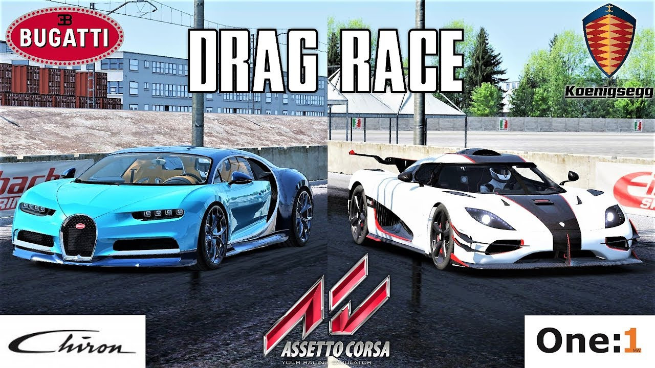 bugatti chiron vs koenigsegg one 1 2000m drag race. Black Bedroom Furniture Sets. Home Design Ideas
