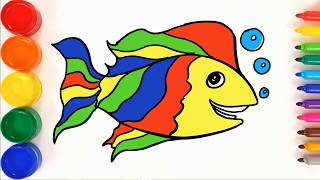 Cute Fish with Bubbles coloring and drawing for Kids, Toddlers