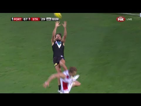 Chad Wingard takes one of the best marks ever