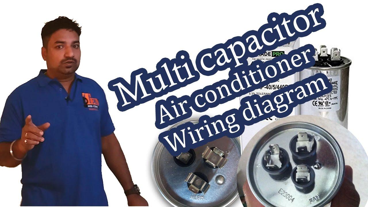 3 terminals capacitor Air conditioner wiring diagram  Hindi  YouTube