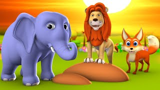Cunning Fox and Lion Elephant 3D Animated English Moral Stories for Kids Bedtime Cartoon Tales