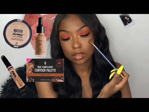 Full Drugstore Makeup Tutorial   Easy Red Smokey Eye   Makeup for Black Women   Lovevinni_