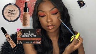 Full Drugstore Makeup Tutorial | Easy Red Smokey Eye | Makeup for Black Women | Lovevinni_