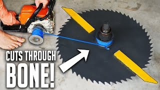 World's Largest Beyblade - Powered By A Chainsaw!