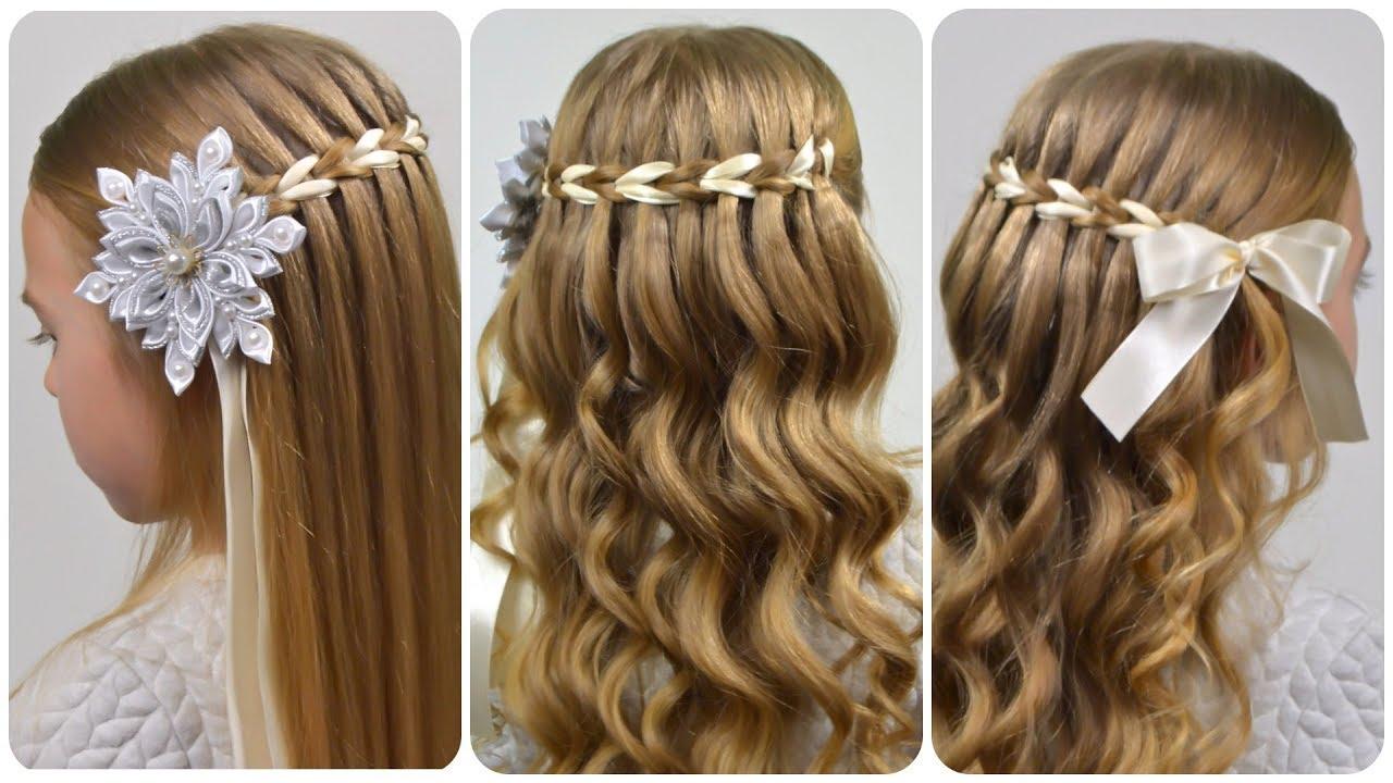 scissor waterfall braid with ribbon