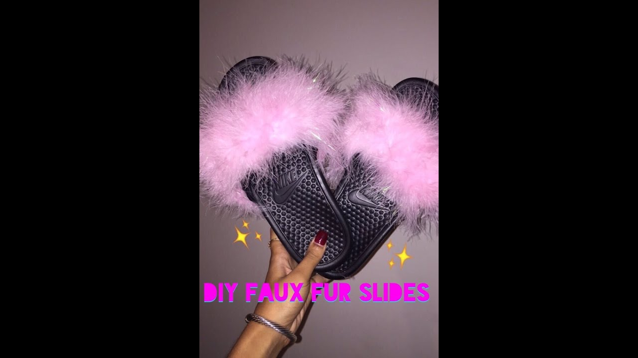 903ce09b250 DIY Faux Fur Slides♥ - YouTube