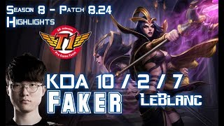 SKT T1 Faker LEBLANC vs ZOE Mid - Patch 8.24 KR Ranked
