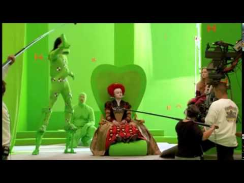 Alice in Wonderland(2010)-Behind the Scenes(greenscreens)