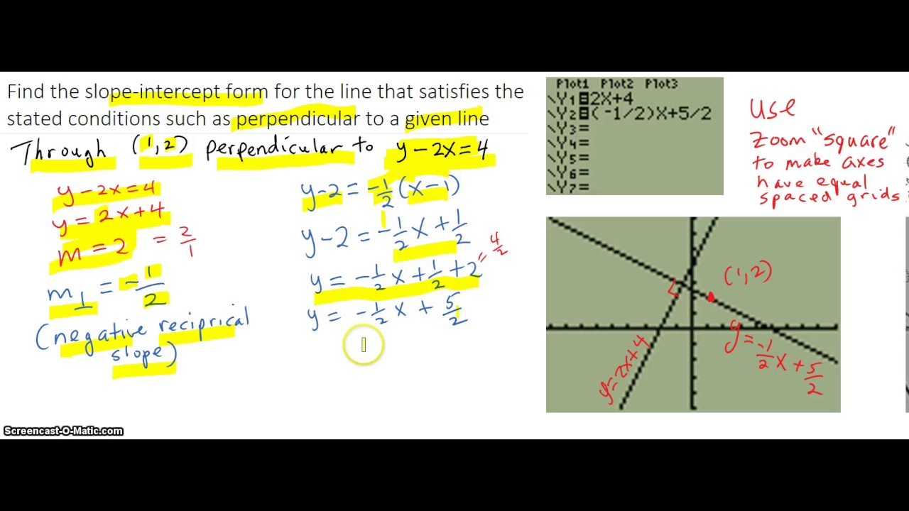 Find the slope intercept form for the line perpendicular to a find the slope intercept form for the line perpendicular to a given line through given point falaconquin