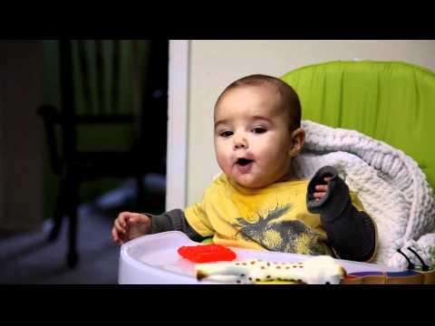 Davis in his highchair – 4 1/2 months old