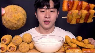 야호 뿌링치즈볼 뿌링핫도그 뿌링소떡소떡 치즈스틱 먹방ㆍCHEESE BALL CHEESE CORN DOG CHEESE STICK yogurt sauce ASMR Mukbang