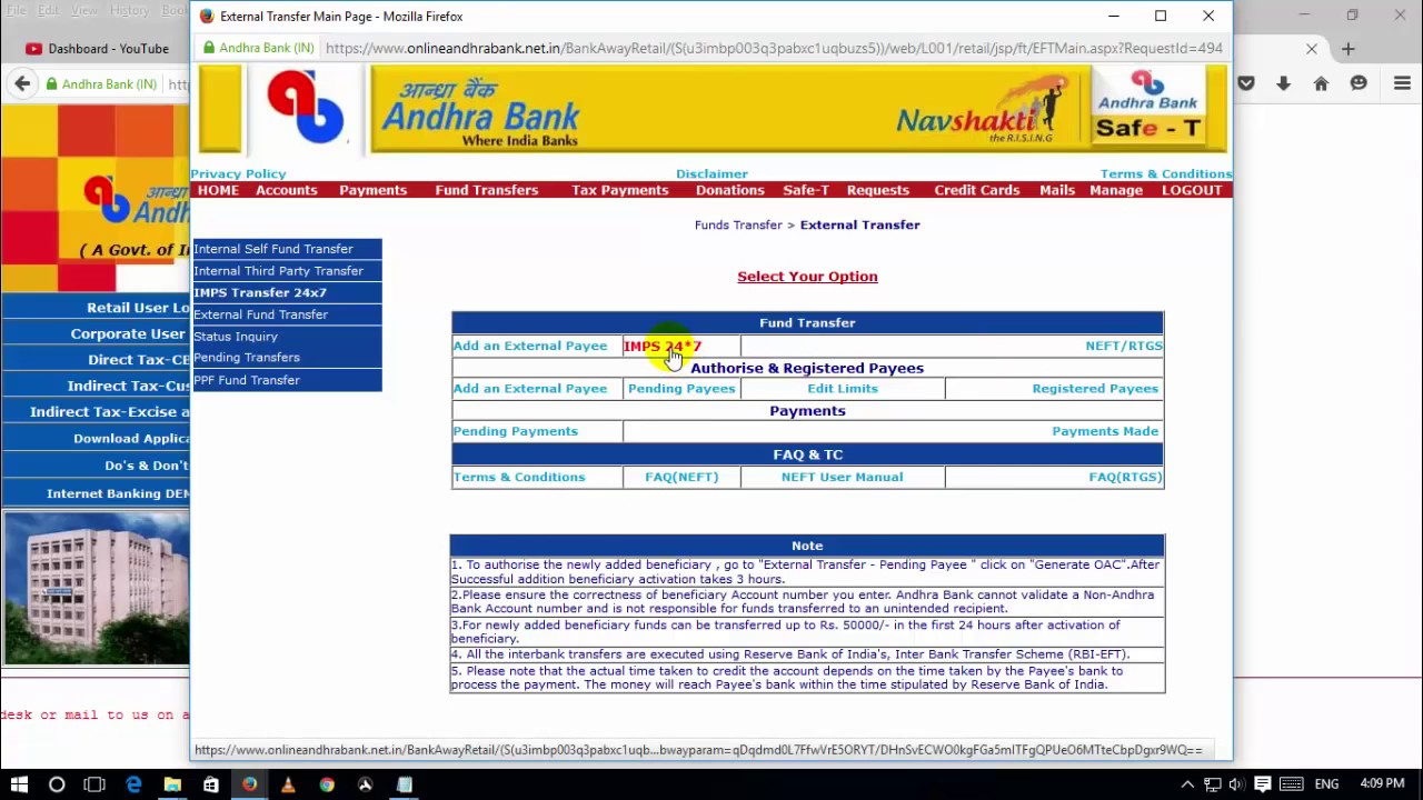 andhra bank net banking queries