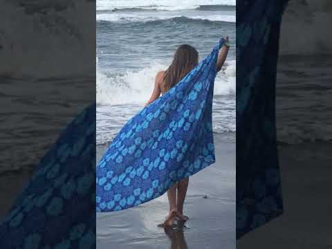 ca43161bc9b96 Back From Bali Womens Sarong Beach Wrap bathing suit cover up Blue Abstract  Flower