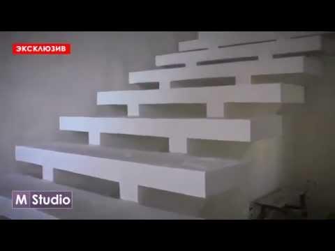 Монолитная бетонная лестница на двух косоурах