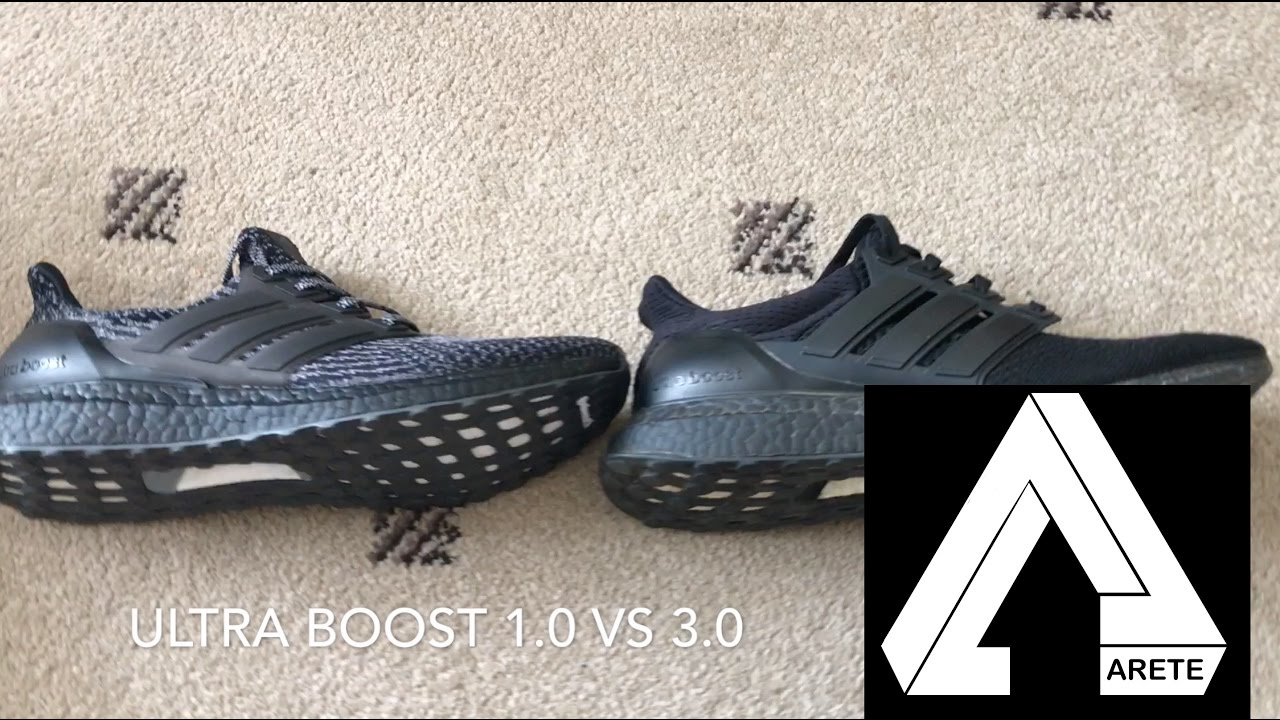 watch cd65e a595c Ultra boost Triple Black 1.0/ 2.0 vs 3.0 Comparison and review — BB4677 vs  BA8923