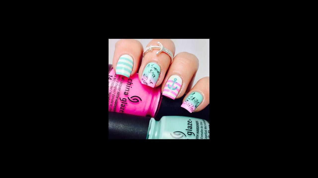 Pink And Aqua Nautical Nail Art Youtube
