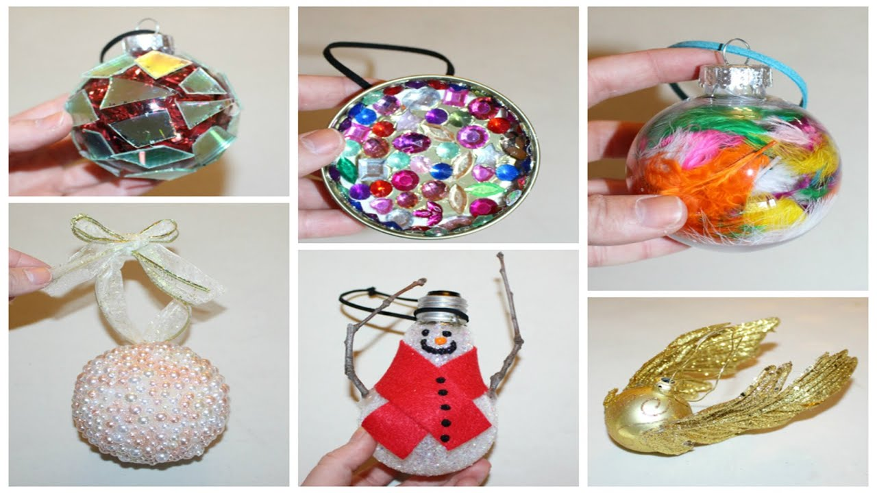 SIX CHEAP AND EASY DIY CHRISTMAS ORNAMENTS - YouTube