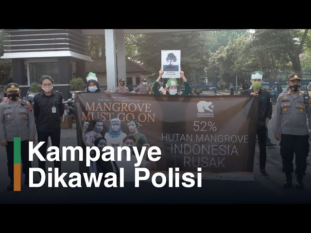 Kampanye Mangrove Dikawal Puluhan Polisi di UNDIP Pleburan