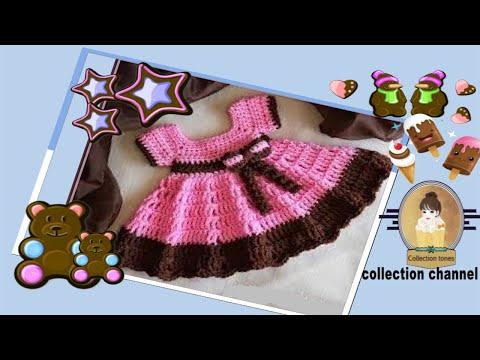 5aa82b2535ac8 كروشيه فستان بنوته عمر 4 - 9 شهوروبأى مقاس  Crochet Baby Dress   كولكشن  collection
