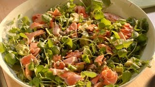 Salmon, avocado, watercress and pumpkin seed salad recipe