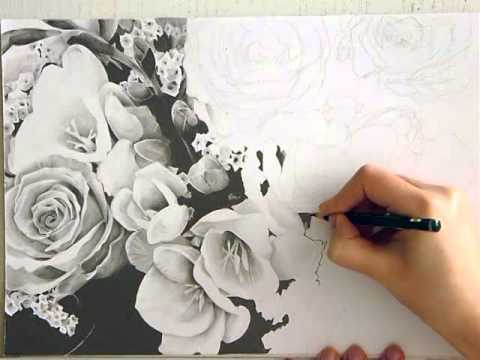 dessin de fleurs noir et blanc youtube. Black Bedroom Furniture Sets. Home Design Ideas
