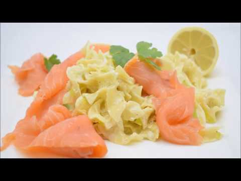 Tagliatelle Pasta With Salmon And Leek