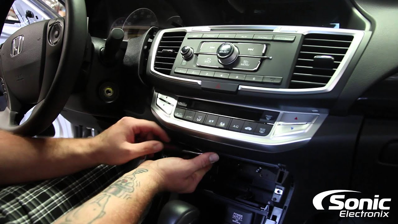 maxresdefault how to remove factory stereo 2014 honda accord youtube Aftermarket Radio Wiring Harness at fashall.co