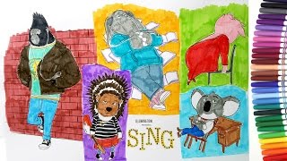 Sing coloring pages how to color Buster, Johnny, Gunter, Mike, Ash, Meena | speed coloring tutorial