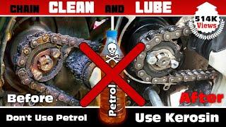 Motorcycle Chain Clean and Lubricate Using Kerosene and Motul Lube C2 - Bikes & More
