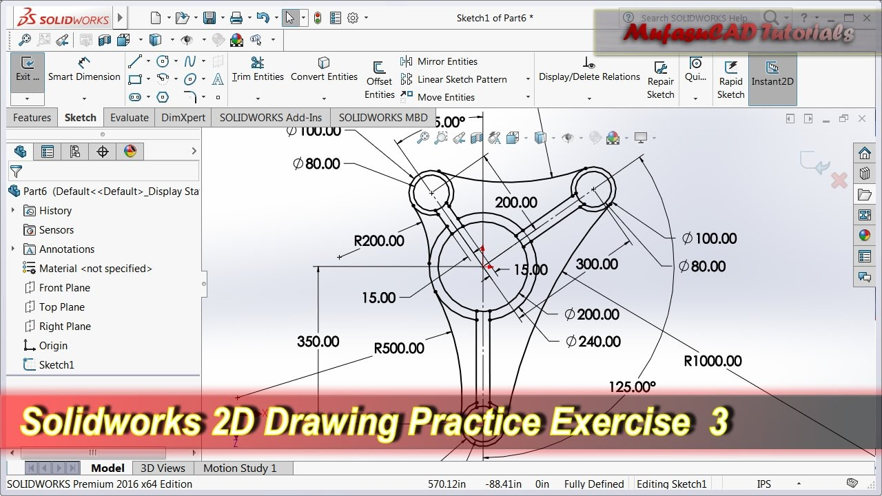 Solidworks 2d Drawing Practice Tutorial