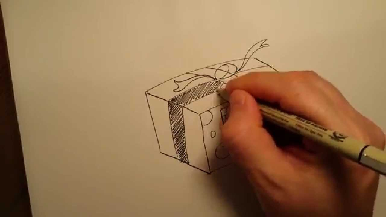 How To Draw A Gift Box Drawing A Birthday Gift Holiday Gift Como