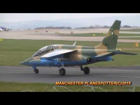Nigerian Air Force Alpha Jet Number NAF477 Landing And Taxing At Manchester Airport On 25/