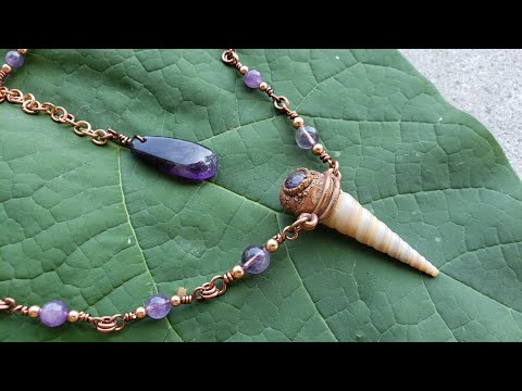 Amethyst and shell necklace