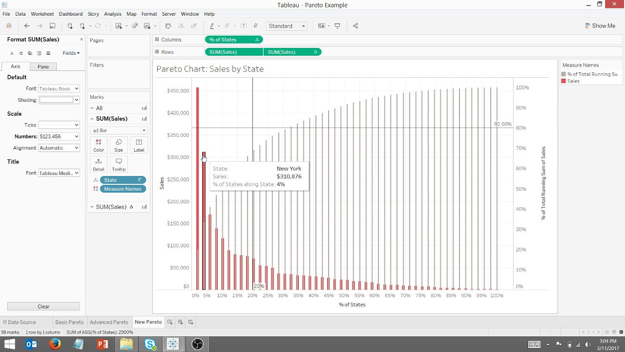 Create A Well Designed Pareto Chart In Tableau Youtube