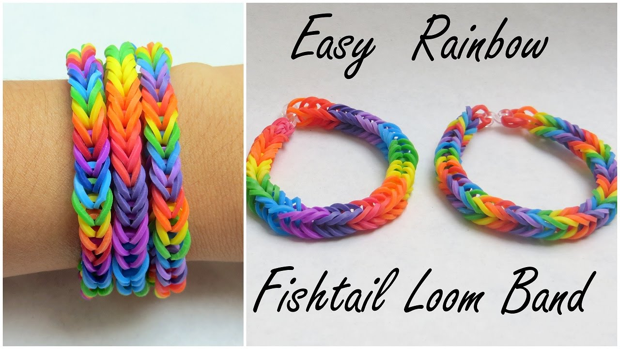 Easy Rainbow Fishtail Loom Band Tutorial ♡ Youtube