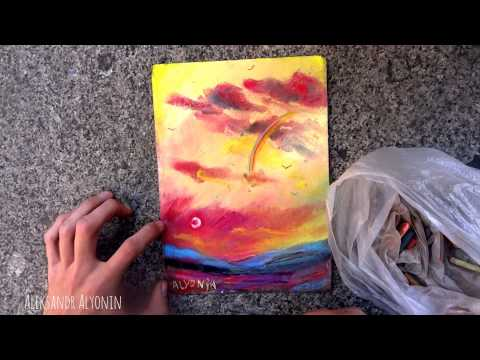 How to Draw abstract paysage for 5 minutes?  abstract landscape pastels on sandpaper
