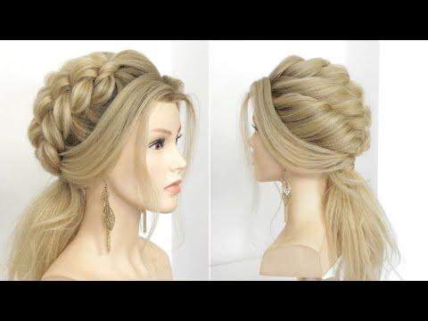 Прически на длинные волосы | Низкий хвост с узлами и жгутами